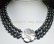 """Natural 3 rows 9-10mm black Tahian cultured pearl jewelry necklace flower 17-19"""""""
