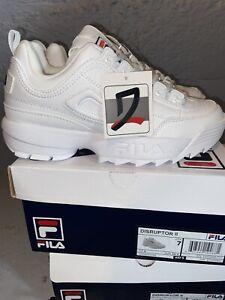 Fila Kids Size 7 (GS) Disruptor II Casual Shoe Sneakers FW02945-111 - White