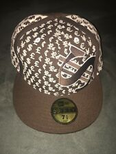 80ca040216d New Era Money Dollar Sign Baseball Cap Brown White Fitted Hat Size 7-1