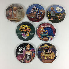 7 Buttons Pinbacks ENESCO Lucy & Me BARBIE Moo Moos CAROUSEL Melly 3""