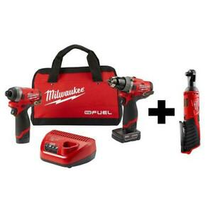 Milwaukee Combo Tools 3-Tool 12-Volt Brushless Cordless Charger Keyless Chuck