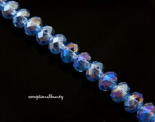140 Celestial Crystal Faceted Light Blue AB Tiny 4x3mm Rondelle Spacer Beads