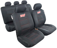 Black Canvas Sport Embroidery Seat Cover Universal Size Front&Rear For Most Cars