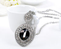 Women's 18K White Gold GP Crystal Pendant Long Necklace Sweater Chain Fashion