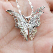 Neu Mode Damen 925 Sterling Silber Halskette Schmetterling Anhänger Schmuck