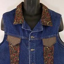 Watch LA Jean Vest Vtg Denim Trucker Paisley Collar Made In USA Womens 2XL EUC