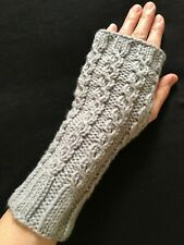 New Quality hand knitted Gray Fingerless Gloves Mittens Wrist Warmers USA Made!