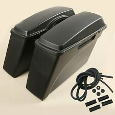 BLACK HARD SADDLEBAGS TRUNK W/ LID FOR HARLEY ROAD KING STREET GLIDE 94-13