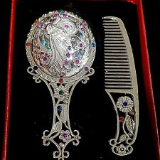 Hair Comb Hand Mirror Vanity Set Crystal Peacock Flowers Colored Painted Makeup