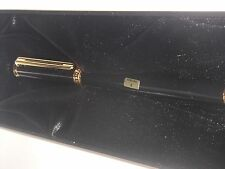 New Noblesse Oblige MontBlanc Fountain Pen; Black, Gold Plated 14 K F gold nib
