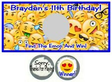 10 Emoji Emoticons Birthday Party Baby Shower Scratch Off Game Cards Smiley Face