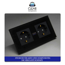 1x HIFI STECKDOSE VERGOLDET 2-FACH GLAS SCHWARZ - GOLD WALL SOCKET - HIGHEND-TOP