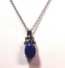 LAPIS LAZULI, simulated black spinel STAINLESS STEEL pendant & 20 in. chain