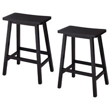 "Set of 2 Saddle Seat 24"" Bar Stools Wood Bistro Dining Kitchen Pub Chair Black"