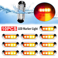 10 X Amber/Red Clearance Lights Side Marker 4 LED Truck Trailer Caravan 12V-24V