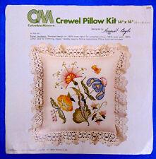 Vintage Columbia-Minerva Crewel Embroidery PASTEL JACOBEAN Pillow Kit 7073 MINT