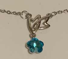 BLUE Crystal Flower Heart Pendant Silver Chain Necklace VALENTINE'S DAY