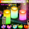 3Pcs Carved Flameless Votive Candles LED Remote Control Timer Color Changing