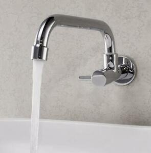 """G1/2"""" Size Wall Mounted Chrome Kitchen Sink Single Only Cold Faucet Tap, Brass"""