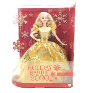 New in Box Mattel Christmas 2020 Holiday Signature Barbie Doll Blonde Gold Dress
