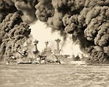 Pearl Harbor December 7 1941 Devastation Several Ships In Flames 8.5x11 Photo