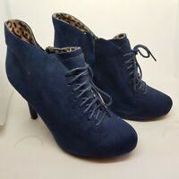 """CLAIRE SWEENEY - DARK BLUE SUEDE 4"""" HEELED ANKLE BOOTS UK 6 BARELY WORN"""