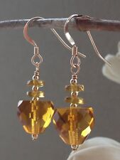 Glass 14ct Rolled Gold Earrings Art Deco Golden Amber Faceted
