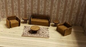 Miniature1:144  Assembled Modern Living Room Suede Couch 2 Chairs and end tables