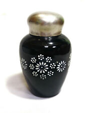 Vintage Rare Black Tea Caddy Box Jar Container Bowl Glass Soviet (USSR) Enamel
