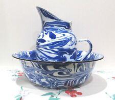 Blue Swirl Graniteware Enamelware Pitcher & Bowl Vintage Style Farmhouse Kitchen