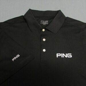 PING POLY GOLF SHIRT--M--SOLID BLACK--PING MAN--EXCEPTIONAL QUALITY!!!!