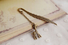 GIFT Vintage Feather Bookmark Charm Pendant Stationery Label Book Holder-XHL