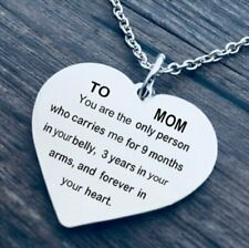 TO MOM Heart Lettering Pendant Necklace Chain Charm Mothers Day Gifts Jewelry