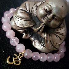 Natural Rose Pink Kunzite Crystal Gold OM Reminder Bell Beaded Healing Bracelet
