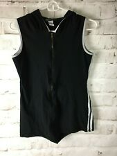 Touch Me Women's Athletic Pull Up Shirt Size Medium Black with White Stripes