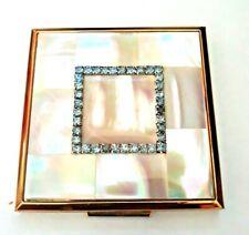 Vintage Elgin American Genuine Mother of Pearl Compact BLUE Rhinestones Jeweled.