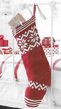 Snowflake design Christmas stocking knitting pattern DK 884