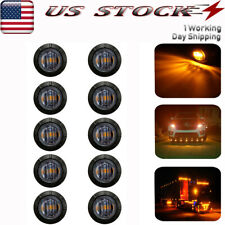 """10x Smoked 3/4""""Led Side Marker Lights Truck Trailer Amber Clearance Bullet Light"""