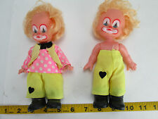 """Pair of Vintage Vinyl Baby Clown Dolls 7"""" Movable Arms Legs Plastic Boots Cute T"""