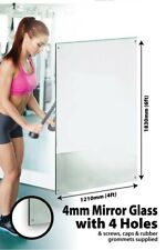 Large Wall Mirror 6Ft X 4Ft 183 X 121cm Glass With 4 Holes Home Gym Dance Studio