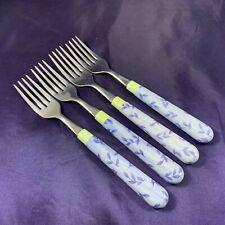 Pfaltzgraff SUMMER BREEZE (Ceramic Handle, Stainless Blade) Salad Fork Set of 4