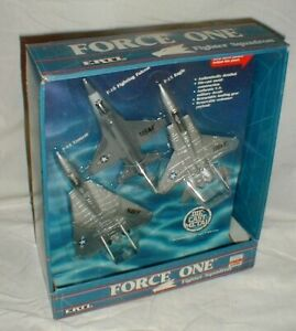 NEW 1987 Ertl Force One Fighter Squadron F-14-F-15 F-16 Die Cast Fighter Planes