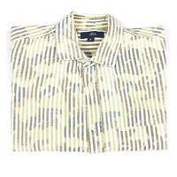 Stussy Mens Camo White Striped Long Sleeve Button Up Shirt Size Medium