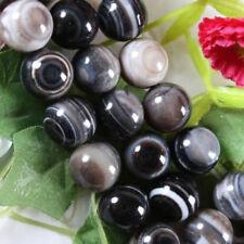 "Natural 10mm Black Stripe Agate Onyx Gemstone Round Loose Beads 15"" AAA"