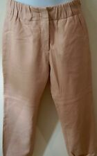 GAP Baby Pink 100% Genuine Lamb Leather Casual Crop Trousers Pants UKS BNWT