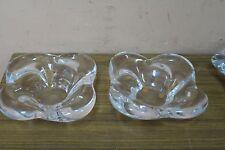 "Pair @ 2 Bayer Cristal France Studio Crystal Art Glass Dish Bowl 5"" x5"" 2"" High"