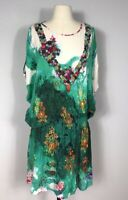 Anthropologie Hemant and Nandita Multicolor Floral 100% Silk Buttons Dress L