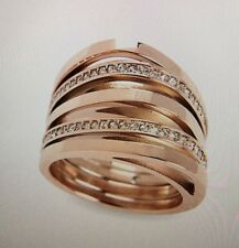 Michael Kors Rose Gold Tone Beyond Brilliant Pave Stack Ring Size 7