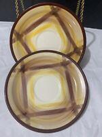 """2 Vernonware Vernon Kilns Organdie Plaid Brown Yellow USA 6-1/4"""" Saucers"""