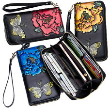 Women's RFID Block Genuine Leather Buttefly Flower Large Capacity Clutch Wallet